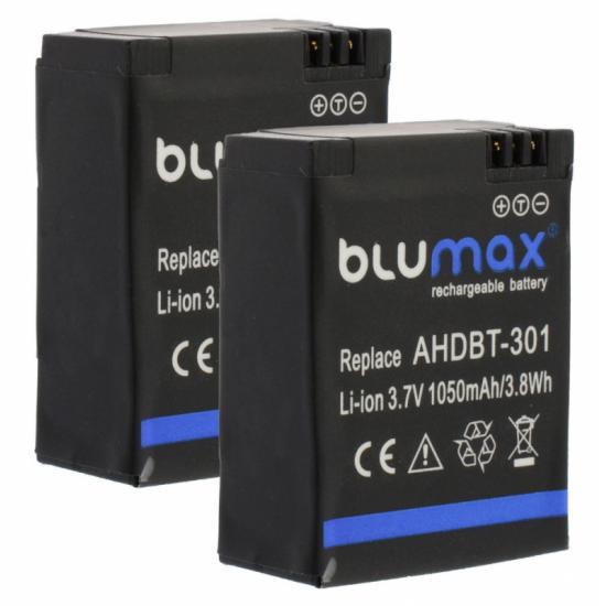 Batteria al Litio compatibile per GoPro Blumax AHDBT-301 AHDBT302 GoPro 1050 mAh
