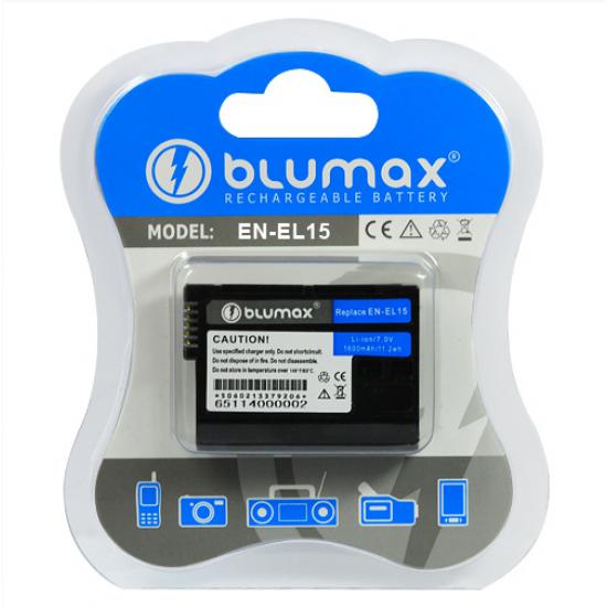 Batteria EN-EL15 ENEL15 Blumax 1600 mAh per fotocamere reflex Nikon D7000 D800 D600