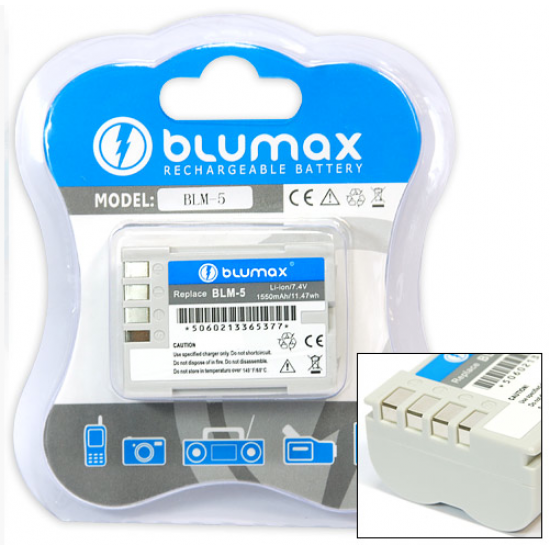 Blumax batteria compatibile per Olympus BLM-5 BLM5 1550 mAh