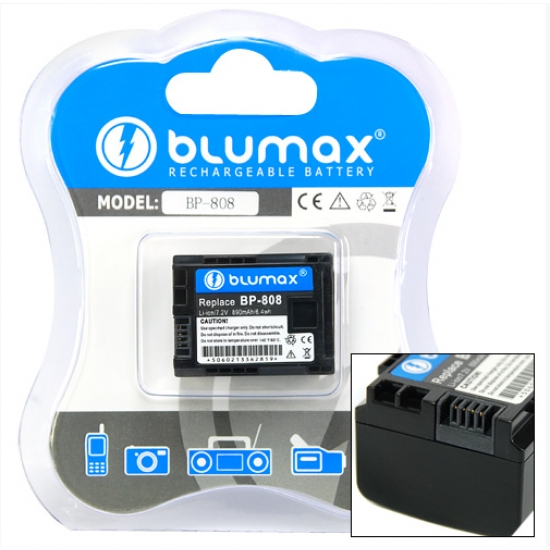 Blumax batteria per CANON B-808 HF G10, HF M306, HF M31, HF M32, HF M36HF M406, HF M41, HF M46, HF S20, HF S200, HF S21, HF S30