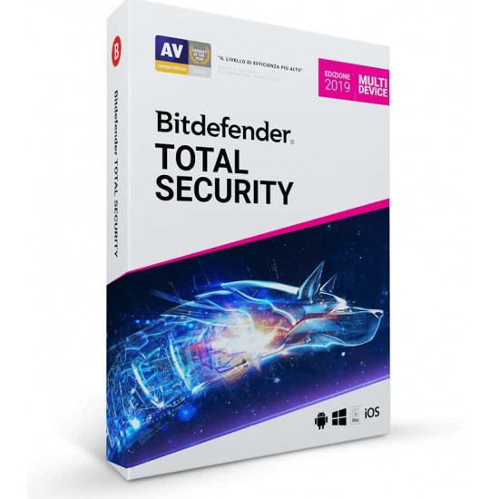 BitDefender Total Security 2019 3 PC Mac Android 1 Anno ESD