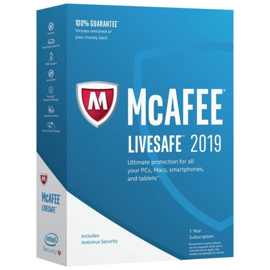 McAfee LiveSafe  2019 Dispositivi Illimitati 1 Anno ESD