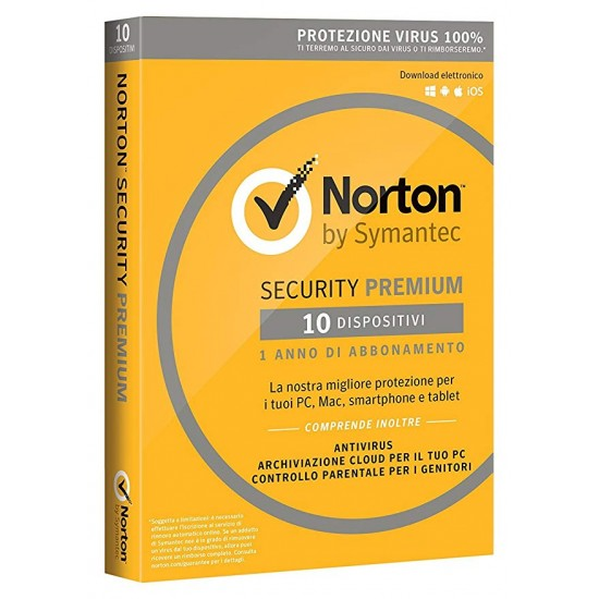 Norton Security Premium 10 PC Win - Mac - Android - 1 Anno ESD