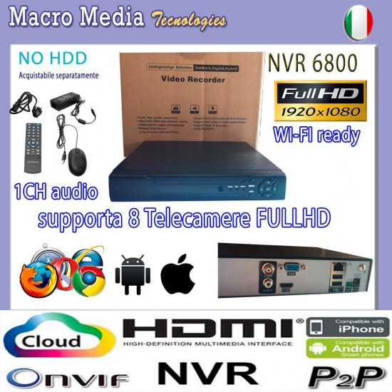 IP NVR 8 CH CANALI FULL HD Ibrido 1080P CLOUD Xmeye